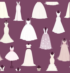 Wedding bride dress seamless pattern vector