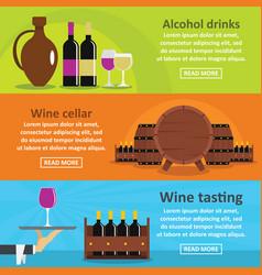 Wine tasting banner horizontal set flat style vector
