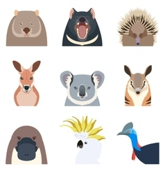Australian animals flat icons vector