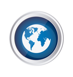 blue emblem earth planet icon vector image vector image