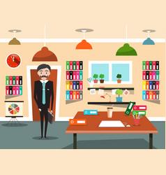 business man in office businessman cartoon vector image vector image