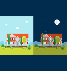 cartoon house building day and night vector image vector image
