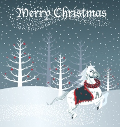 christmas horse vector image vector image