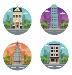 collection building moder and traditional vector image vector image