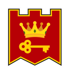 golden crown and key on coat of arms made in vector image