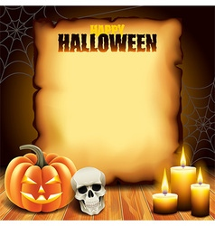 Halloween paper with pumpkin skull and candles vector image vector image