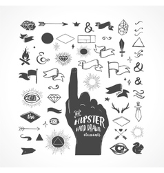 Hipster hand drawn shapes icons elements vector image vector image