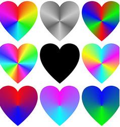 Rainbow gradient heart icon template set vector