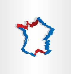red blue france map stylized icon design vector image
