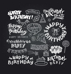 set of happy birthday hand drawn calligraphy pen vector image vector image