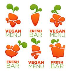 carrot vegetable vegan menu and fresh juice vector image vector image