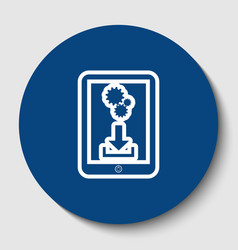 phone icon with settings symbol white vector image