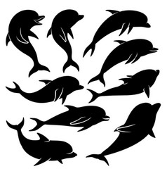 set of black dolphins vector image