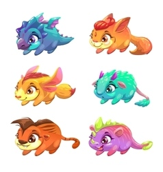 Set of cute cartoon little monsters vector image vector image