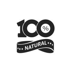 100 percent natural green label black and vector image