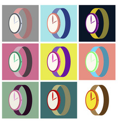 assembly flat icons wrist watch vector image