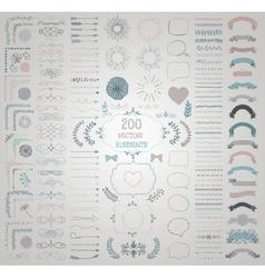 Big Set of Decorative Hand Drawn Design vector image