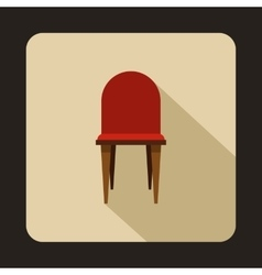 Red wooden chair icon flat style vector image