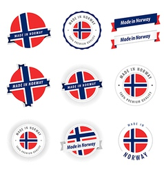 Set of Made in Norway labels and ribbons vector image vector image