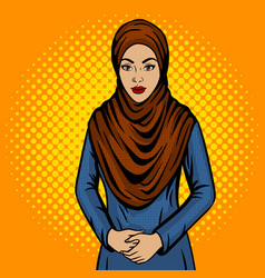 Arab woman in traditional dress pop art vector