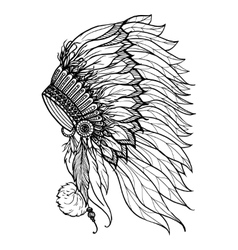 Doodle Headdress For Indian Chief vector image