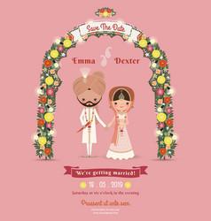 Indian Wedding Bride Groom Cartoon Romantic Pink vector image vector image
