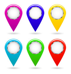 set of colorful map pointers isolated objects vector image