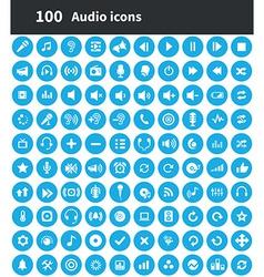 100 audio icons vector image