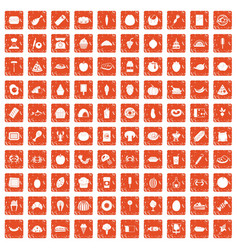 100 favorite food icons set grunge orange vector image