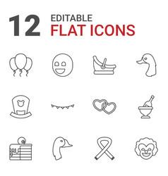 12 happy icons vector