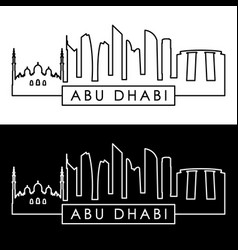 Abu dhabi skyline linear style editable file vector