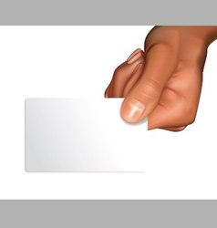 Arm with blank card vector image