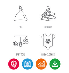 Baby clothes bath bubbles and hat icons vector
