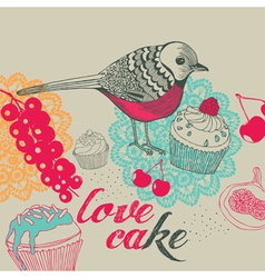 Bird and cakes vector