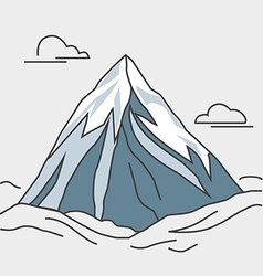 Blue mountain with clouds Snowy peak vector