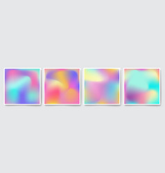 bright holographic colorful backgrounds set vector image