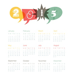 calendar 2015 retro vector image