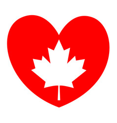 Canadian maple leaf on a red heart - i love canada vector