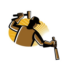 carpenter worker with hammer and chisel vector image
