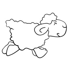 Cartoon funny sheep posing isolated on white vector