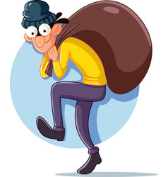 Cartoon thief with money bag vector