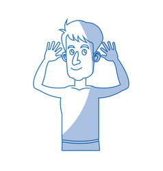 Character man with hands raised without shirt vector