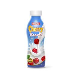 cherry yogurt bottle plastic container vector image