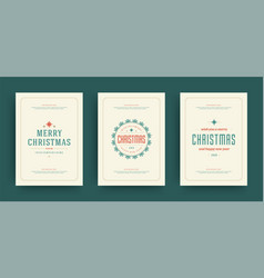 christmas greeting cards set design template with vector image