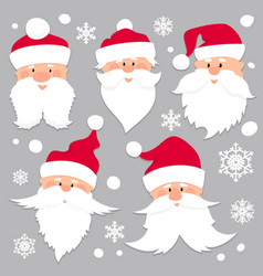 christmas santa claus faces in red caps old men vector image