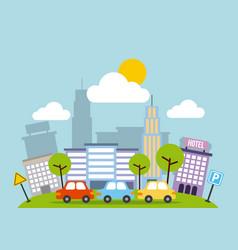 city buildings road urban street landscape vector image