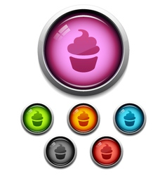 cupcake button icon vector image