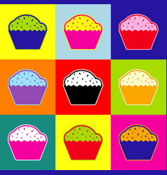 Cupcake sign pop-art style colorful icons vector