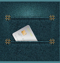 denim background with two pockets and credit card vector image