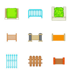 Different seamless fence icons set cartoon style vector